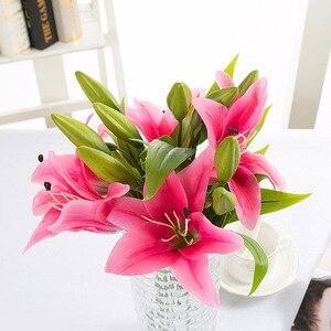 Image 3 - Diy 3 cabeças de toque real artificial lírio flores casamento nupcial falso flores buquê plantas lírio branco decoração festa em casa para exibição