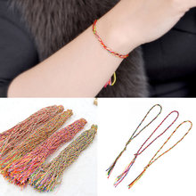 New LNRRABC 2018 Random Color Ethnic Colorful Long Tassel Women Lady Girl DIY Weave Rope Bracelets Multicolored Charm Bracelet(China)