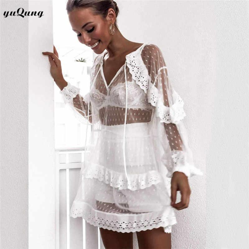 c66fa72276b Yuqung women hollow out lace ruffles mesh see throught short beach dress  polka dot sheer cover