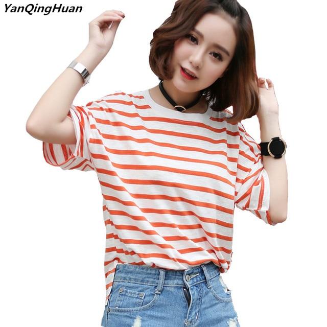 8b83b00813 Verano moda rayas Harajuku Printed mujer T-shirt Casual de manga corta de  algodón de bambú viento Colegio cuello redondo Camiseta Tops