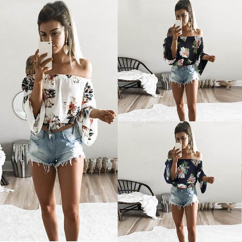 Boho Women Tops 2019 Summer Print Slash-Neck Short T-Shirt Fashion Streetwear Long Sleeve Plus Size Women Clothes Casual Shirt