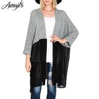 2016 Long Cardigan Women Spring Long Sleeve Knitted Cardigans Coat Female Plus Size Casual Knitting Chiffon