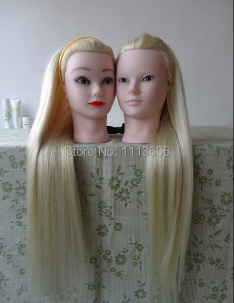 New Arrival Mannequin Hairdressing Training Head 100% High Temperature Fiber White Hair Mannequin head