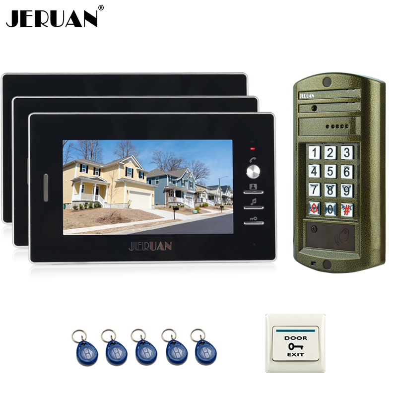 JERUAN NEW 7`` Video Doorbell Intercom System kit 3 Monitor + Metal Waterproof Access Password keypad HD IR Mini Camera 1V3 jeruan wired 7 inch video doorbell intercom door phone system kit new metal waterproof access password keypad hd mini camera 1v3