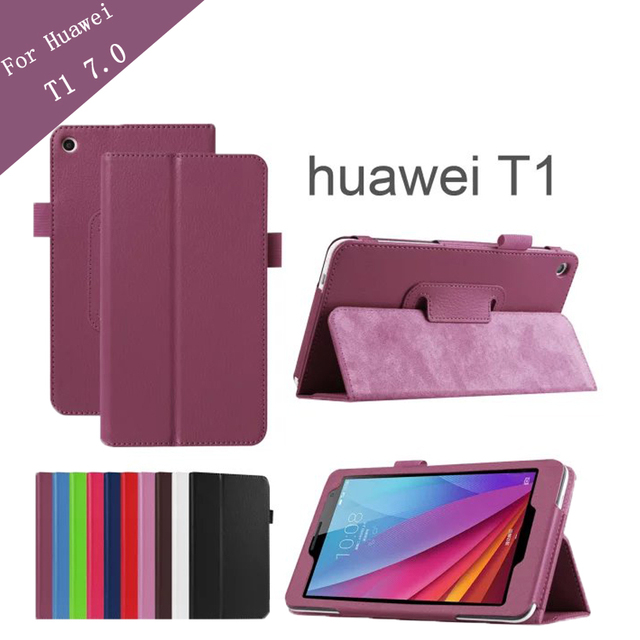 Lichee  Pattern Tablet Case for Huawei T1 7.0 T1-701u Stand Leather Case for  Huawei MediaPad T1 T1-701w +protector