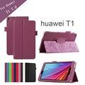 Patrón Litchee caja de la tableta para Huawei T1 7.0 T1-701u del cuero del soporte para Huawei MediaPad T1 T1-701u + protector