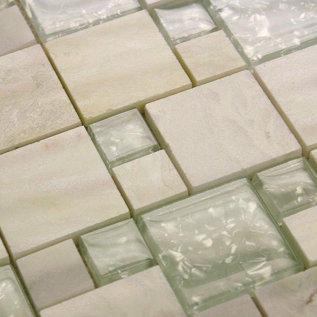 Stone glass tile mirror square wall tile backsplash discount ...