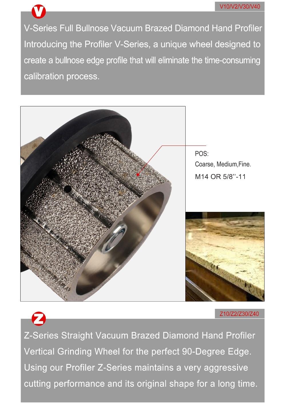 "Full Bullnose Vacuum Brazed Granite Diamond Profile Wheel Marble Hand Profiling Wheels 5/8""-11"