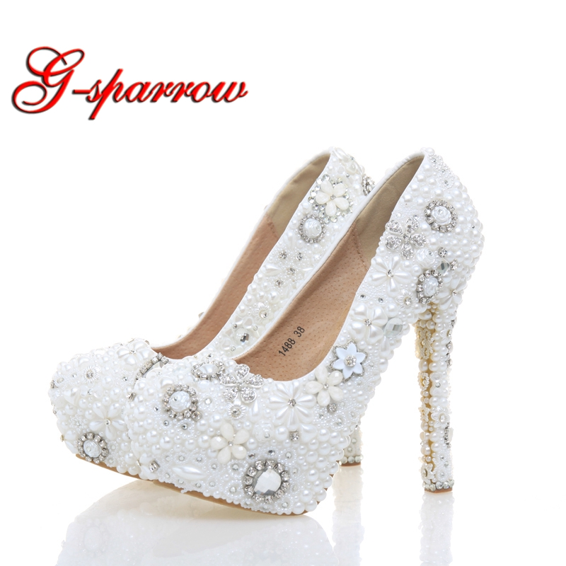 White Color Lady High Heels Beautiful Wedding Party Bride Shoes White Pearl with Rhinestone Party Prom Shoes Plus Size 11