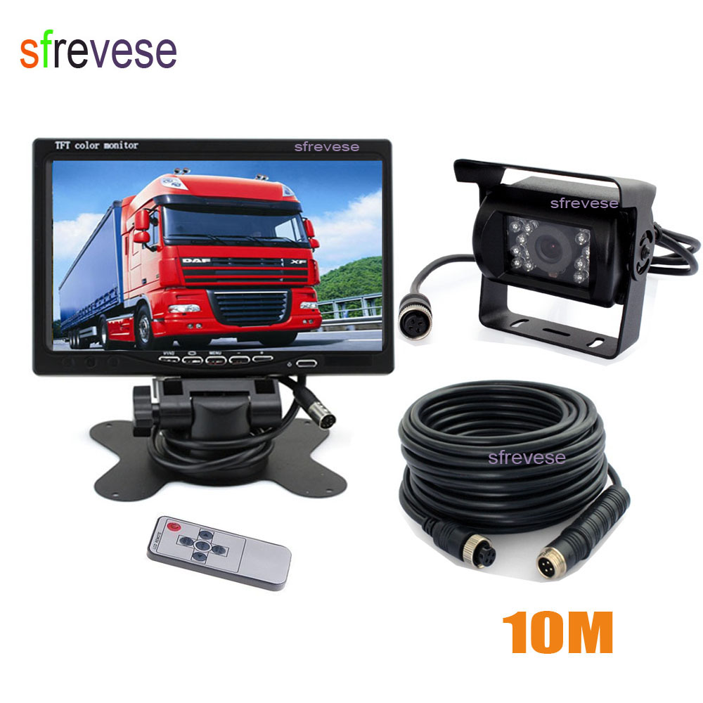 4Pin 18 LED Night Vision Waterproof Car Veículos Invertendo Estacionamento de Backup Camera + 7 LCD Carro Monitor Traseiro Caravana vista Kit