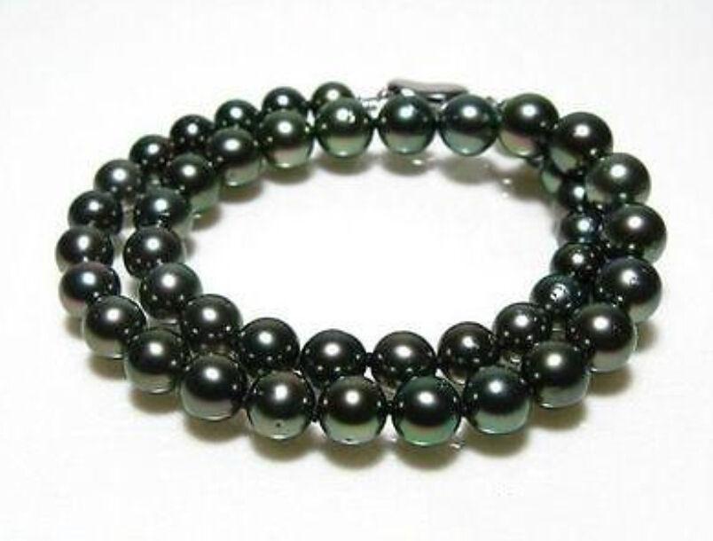 БЕСПЛАТНАЯ ДОСТАВКА ГОРЯЧЕЙ продать новый Стиль>>>> 10 11 мм природный tahitian черный зеленый жемчужное ожерелье 17 дюймов