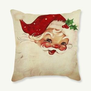 Boże narodzenie santa Claus rzuć poszewka na poduszkę na dekoracja wnętrz boże narodzenie drzewo słodkie nadruk niedźwiedzia lniana poszewka na poduszkę do sofy poszewka na poduszkę