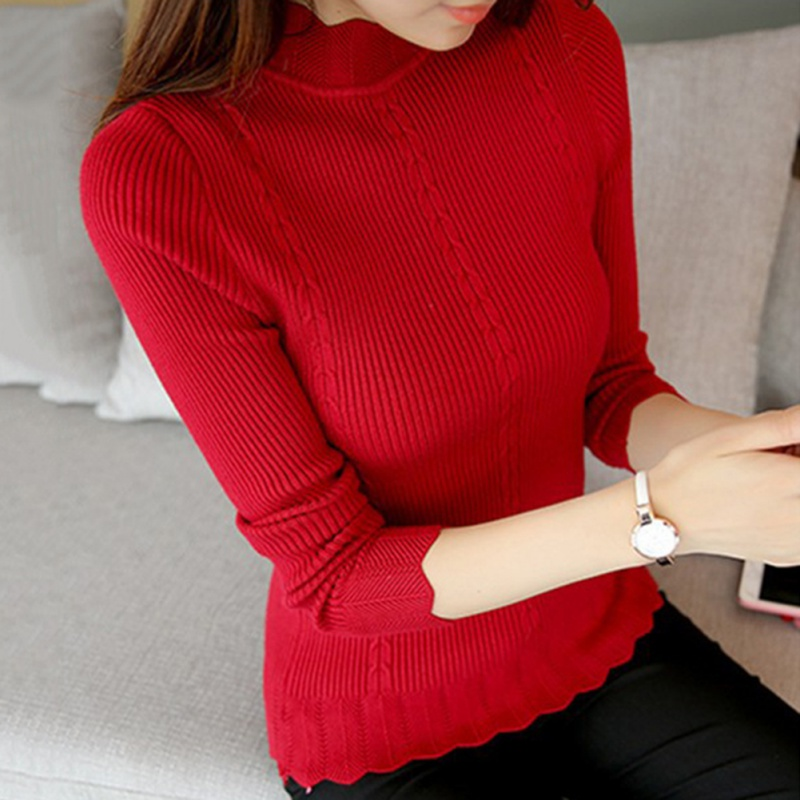 Korean Sweaters and Pullovers Women Sueter Mujer Ruffled Sleeve Turtleneck Solid Slim Sexy Elastic Women Tops