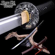 Full Handmade Samurai Sword  Black Japanese Katana Damascus Folded Steel Blade Practical Sharp Ginsu knives