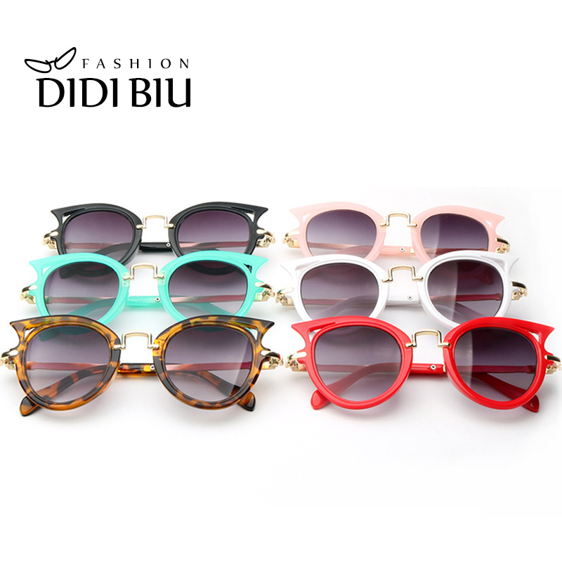 DIDI Kids Sunglasses 2016 Brand Design Vintage Cat Eyes Multi Colour Frame Alloy Lens Girls Boys Sunglasses oculos infantil H125