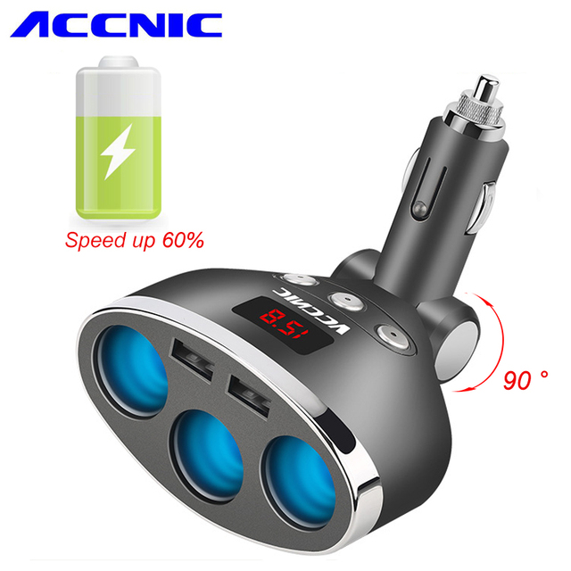 Accnic 5V 1A/2.4A Dual USB Car Splitter Cigarette Lighter Socket Adapter 120W LED Voltage Monitor Auto Car USB Plug Converter