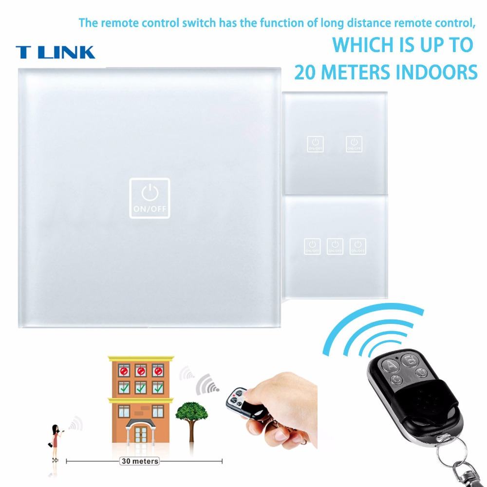 TLINK EU Standard minitiger Remote Control Switch 1 Gang 1 Way Wall Switch Wireless remote control light switch touch Y901A smart home eu touch switch wireless remote control wall touch switch 3 gang 1 way white crystal glass panel waterproof power