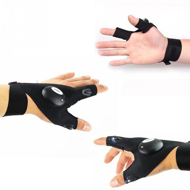 Fingerless Gloves with Flashlight