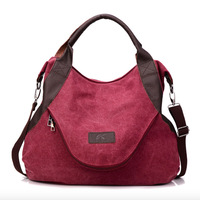 Free Shipping Rushed New Arrival Solid Casual Zipper Canvas Shopping Bags for Women