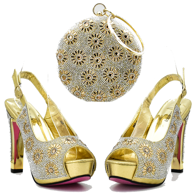Gold elegant high heel sandal shoes and clutches bag for african aso ebi  italian design shoes b58b9a846a30