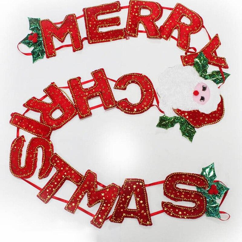 Us 958 29 Offmerry Christmas Surat Bahasa Inggris Bendera Flanel Pvc Banner Xmas Pohon Natal Luar Dekorasi Dinding Art Bendera Panji Panji