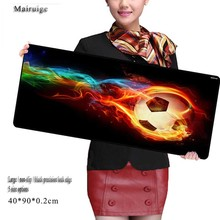 Mairuige Football with Fire Large Mouse Pad XL 900*400mm for Gaming CS GO DIY Pictures Super Extended Locking Edge Size 900mm
