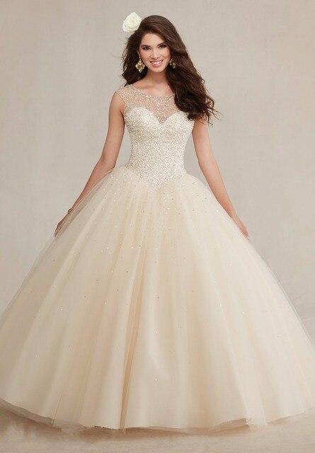 Hotsale cristal champagne frisada vestidos quinceanera vestido de debutante sweet 16 vestidos baratos quinceanera vestidos de 15