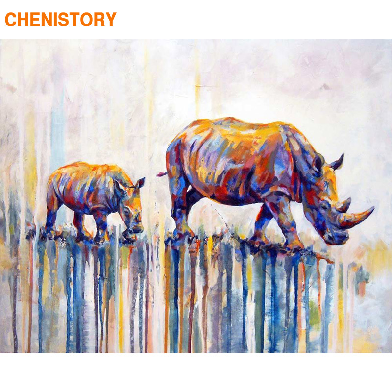 CHENISTORY Frameless Bull animales Diy pintura al óleo por números moderno hogar arte de la pared pintura de acrílico por números 40x50 cm artes