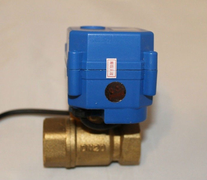 12VDC 3 Wires DN20 Actuated Ball Valve BSP 3/4'' 2-Way Electric Motorized Valve, CR02 Wiring, Max1.0Mpa