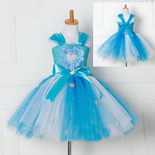 Little Girls Flower Tutu Dress Princess Elsa Tulle Party Dresses Pageant Gowns Girls Dress Up Fancy Baby Clothing 2-10 years все цены