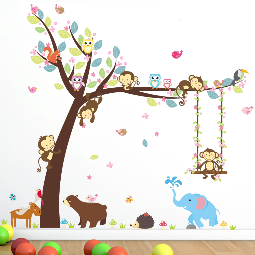 Cartoon Trees Curtains For Kids Boys Bedroom Blinds Linen: Animal Cartoon Owl Monkey Swing Under The Tree Elephant
