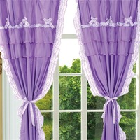 TUTUBIRD Luxury purple Korean Style floral window curtains set for living room high quality pink princess curtain 100% cotton