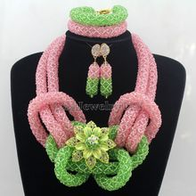 Latest African Costume Jewelry Pink Set Nigerian Wedding Beads Necklaces Jewelry Sets Woman Party Gift Free Shipping HD7549