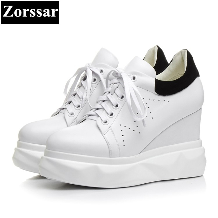 {Zorssar}Genuine Leather women shoes wedges High Heels lace up fashion Hollow out breathable platform pumps womens creeper shoes