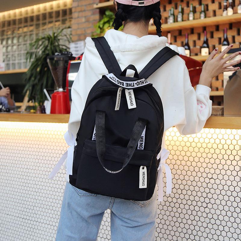 Menghuo Large Capacity Backpack Women Preppy School Bags For Teenagers Female Nylon Travel Bags Girls Bowknot Backpack Mochilas (20)