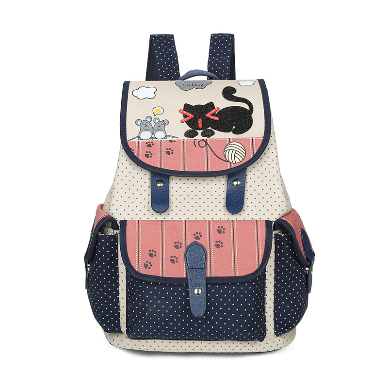 Famous Brand Cute Cartoon Canvas Backpack for Teenager Girls Fashion Korean Student Cat Printing Schoolbags Women Travel Bag 2017 fashion women waterproof oxford backpack famous designers brand shoulder bag leisure backpack for girl and college student