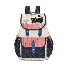 Известный бренд милый мультфильм холст рюкзак для подростков модная одежда для девочек Корейский студент кошка печать ранцы Женщины Дорожная сумка