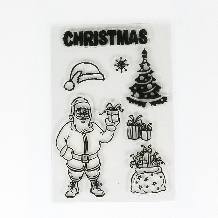 3sheets Lot Hard Christmas Gift Drawing Rubber Stamps Scrapbooking