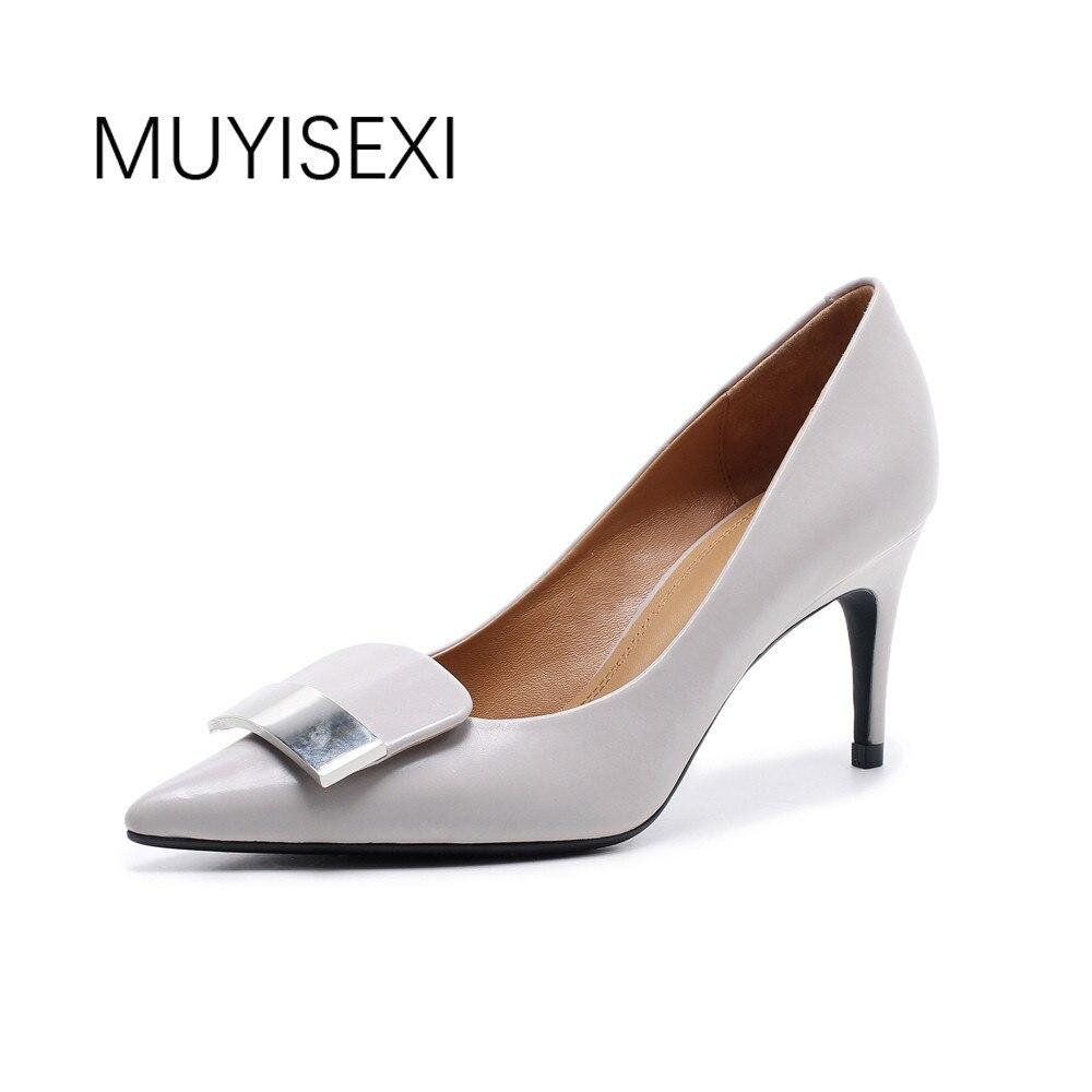 Kobiety szpilki szpiczasty Toe cienkie obcasy kobiety pompy wewnątrz i na zewnątrz przez cały kożuch buty biurowe szary czarny GN04 MUYISEXI w Buty damskie na słupku od Buty na  Grupa 1