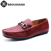 A Song Of Men S Casual Shoes Men S Leather Flat Pedal Driving Le Fukuo Slip
