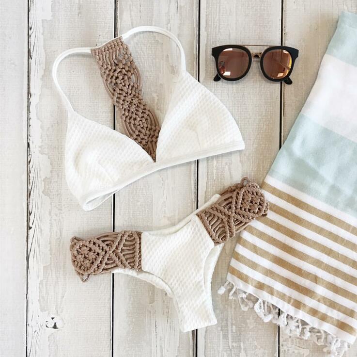 Sexy bikini women crochet swimwear swimsuit ladies thong split swimming suit strapless white women swimwear bikini