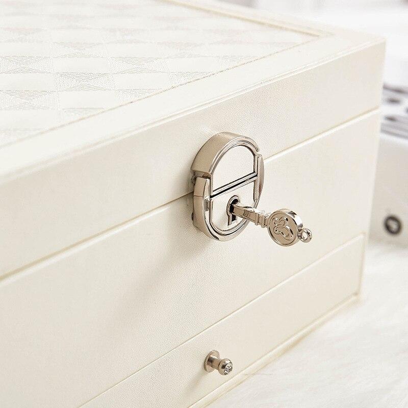 De diseño de moda de joyería de cuero caja de joyería Paquete de almacenamiento de gran espacio anillo de joyería de collar de pulsera de Venta caliente - 4
