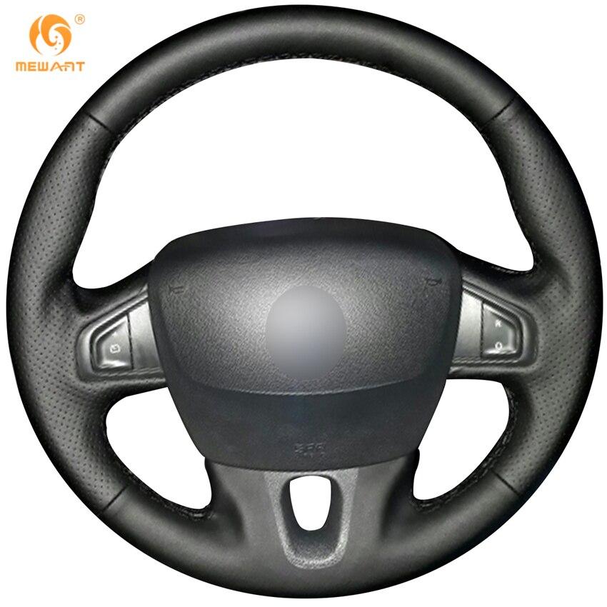 MEWANT Noir Artificielle Couverture de Volant En Cuir pour Renault Fluence Fluence ZE 2009-2016 Megane 2009-2014 Pittoresque 2010-2015