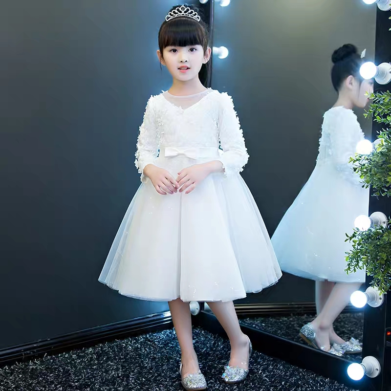 2018Autumn New Long Sleeves Teens Girls Birthday Wedding Party Princess Dress Kids Baby Appliques Flowers Prom White Color Dress 2017 new high quality girls children white color princess dress kids baby birthday wedding party lace dress with bow knot design