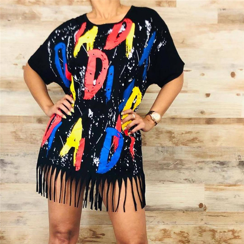 Plus Size Letter Print T-shirt Dress Women O-neck Short Sleeve Sexy Tassel Dress Streetwear Summer Loose Mini Casual Dresses