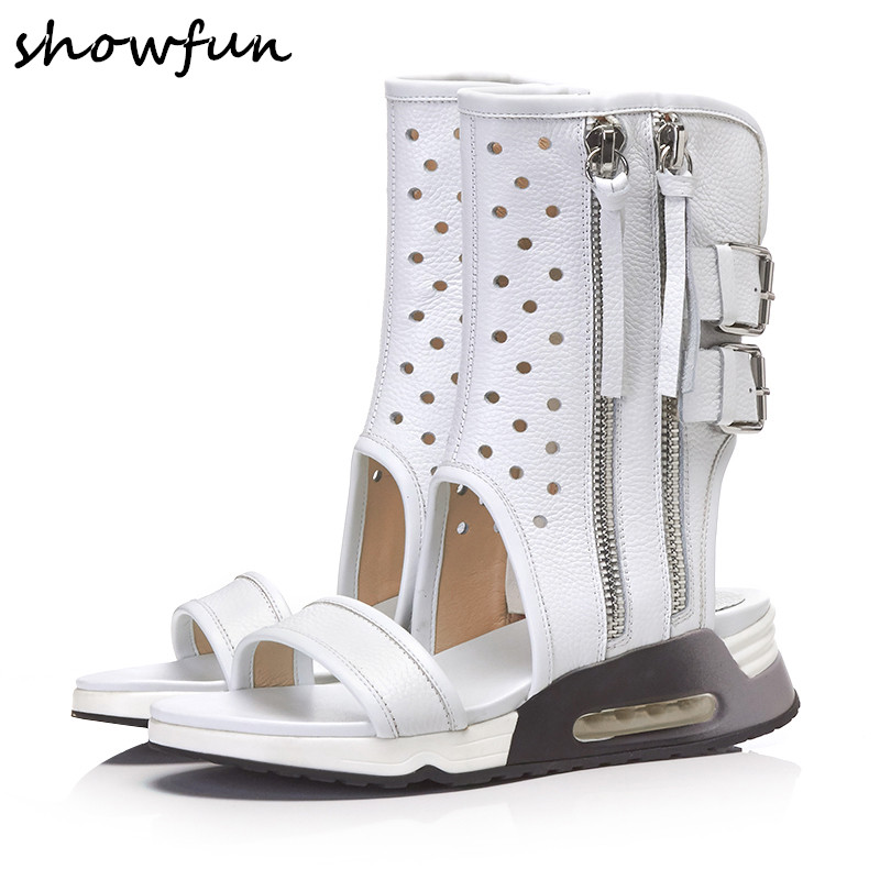 Women's genuine leather hollow-out double zip summer mid-calf flats short boots brand designer fringe metal buckle leisure shoes double buckle cross straps mid calf boots