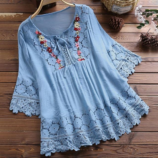 Women Vintage Lace Patchwork Bow V-Neck Three Quarter Blouses Top blue pink elegant summer shirts female blouse