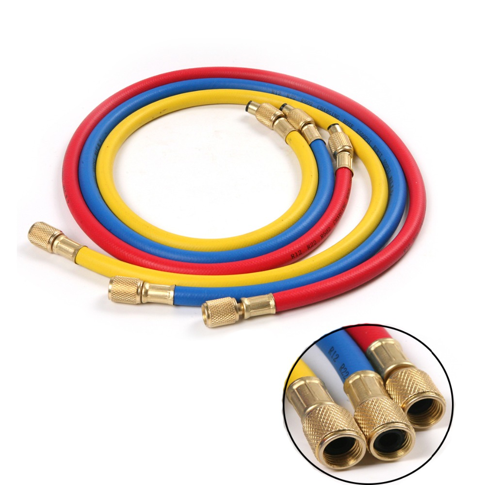 цены 3Pcs 90cm R12 R22 R502 Refrigerant Charging Hose for Auto Car Air Conditioner Tube Pipe Hose with Copper Fittings 1/4'' SAE