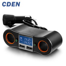 Car Charger Cigarette Lighter Socket 2 Dual USB Charging Interface Charger battery voltage display by CDEN