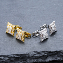 New Fashion Jewelry Square Stud Earring For Men & Women  Hip Hop Micro Pave Cubic Zircon Iced Out Bling Gold Color Earrings